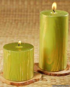 """Faux Bois Candles These """"fake wood"""" candles make charming centerpieces for an eco-themed party."""