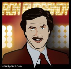 Ron Burgandy - Anchorman - caricature of Will Ferrell - created by Sandi Fender in Adobe Illustrator. SandiPants.com