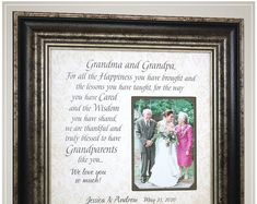 wedding thank you gift for grandparents, personalized wedding frame gift for grandmother grandfather Thank You Gift For Parents, Wedding Thank You Gifts, Wedding Gifts For Parents, Mother Of The Groom Gifts, Father Of The Bride, Bride Gifts, Gift Wedding, Anniversary Party Decorations, Grandparent Gifts