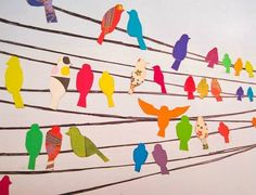 Birds on a Wire Wall Decals Birds for the wall. Could be vinyl decals, but what if it was thin rope or fabric strips and fabric birds?Birds for the wall. Could be vinyl decals, but what if it was thin rope or fabric strips and fabric birds? Art For Kids, Crafts For Kids, Arts And Crafts, Paper Art, Paper Crafts, Bird Crafts, Cut Paper, Art Classroom, Art Club