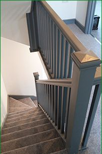 Most up-to-date Screen Carpet Stairs design Concepts One of many fastest ways to revamp your tired old staircase would b. Painted Staircases, Home, Staircase Railings, Grey Hallway, Grey Painted Stairs, Carpet Stairs, Stairs Design, Handrail Design, Stair Banister