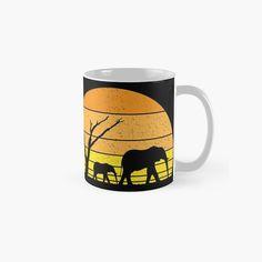 African Bush Elephant, South Africa, Safari, Ceramics, Sunset, Mugs, Prints, Vintage, Ceramica