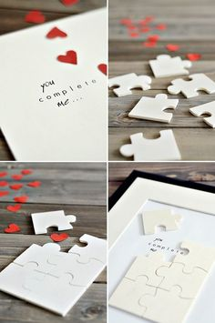 *you complete me* puzzle shadow box