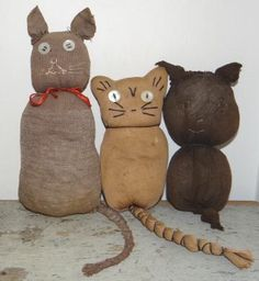 Early Authentic Sock Cats...  & original red painted basket ♥  http://www.pinterest.com/pin/480126010248785200/