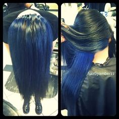 peekaboo blue hair - Google Search