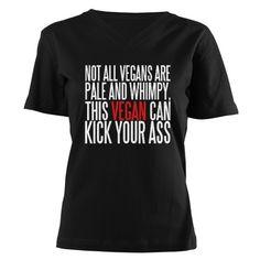 VEGAN Women's V-Neck Dark T-Shirt