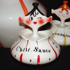 Vintage Holt Howard Chili Girl Ceramic Pixie Ware Jar