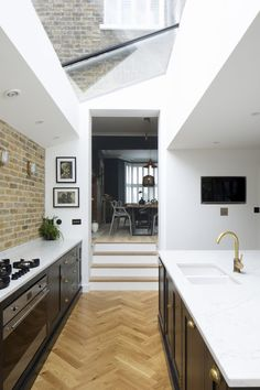 A young family home location with quirky furnishings and contemporary decor. Large modern kitchen and wood floors throughout. Kitchen Extension Victorian Terrace, Kitchen Diner Extension, Open Plan Kitchen Diner, Open Plan Kitchen Living Room, Kitchen Dining Living, Victorian Kitchen, Kitchen Layout, Home Decor Kitchen, Kitchen Design