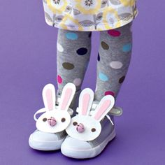 Bunny sneakers for Easter-Putting a pink pom pom on the back of shoe...turned out adorable...used craft foam instead of felt.