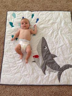 Custom made Shark baby quilt Nautical crib by createdbymammy