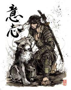 PRINT 810 Samurai Big Boss and his Dog companion with Japanese calligraphy WILL Ronin Samurai, Samurai Warrior, Samurai Anime, Snake Metal Gear, Big Boss Metal Gear, Metal Gear Solid Series, Cry Anime, Metal Gear Rising, Samurai Artwork