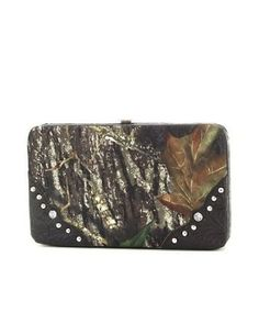 Camo Camouflage Rhinestone Black Western Flat Clutch Wallet Handbag Incorporated. $24.99