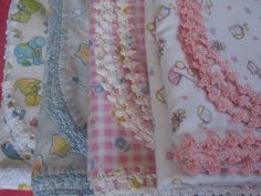 Provides a number of simple crocheted edgings to use on flannel receiving blankets.