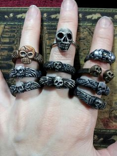 Formed polymer 'Memento Mori' rings by Eyescream Gothic Jewelry Originals.