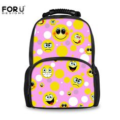 FORUDESIGNS Cartoon Emoji Kids Girls Fashion Smile Bag Luxury Brand College  Student School Bags Children Book e81b5e5382