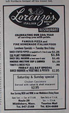 Lorenzo's Menu 1975 Middleboro, MA His Travel, Travel List, Business Look, Family Business, Baked Stuffed Peppers, New England Homes, Local History, My Town, Northern Ireland