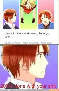 The Italians Hetalia<-- mind the language but, just look at all the Italy. Seborga looks like what you would get if you mix Feliciano (North Italy) and Lovi (South Italy).
