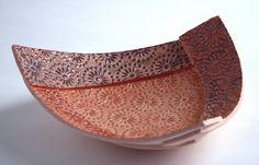 Ceramics by Diana Cox at Studiopottery.co.uk - Red Daisy Dish