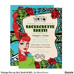 Vintage Pin-up Girl, Rock-A-Billy Invitations Vintage Pin-up, Rock-A-Billy Party Invitations, available for birthdays Girls night out and bachelorette parties. Retro, pin-up girl party invitation features green leopard print, a red-head pin-up girl, tattoo art accents and bright vivid colors. Additional pin-up girl party supplies are available at Metro-Events on Zazzle and Metro-Event.com. #bridalshowerideas Fun wedding invites - customize your weddings invitations. #invitations #invites