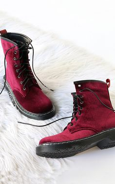 Velvet lace up short boots WINE.