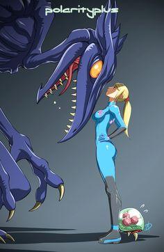 Metroid, Samus, by Polarityplus. Aww the metroid! Metroid Samus, Metroid Prime, Starcraft, Cyberpunk, Chibi, Zero Suit Samus, Super Metroid, Anime Art, Manga Anime