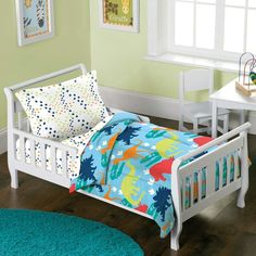 Shop for Dream Factory Dinosaur Prints Toddler Comforter Set. Get free delivery On EVERYTHING* Overstock - Your Online Kids Bedding Store! Toddler Comforter Sets, Kids Comforters, Full Comforter Sets, Kids Bedding Sets, Crib Sets, Dinosaur Comforter, Dinosaur Toddler Bedding, Dinosaur Bedroom, Toddler Pillow