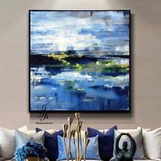 Landscape Abstract Acrylic Painting Gold Leaf Art Landscapae Art Wall Decor Modern Art Landscape Painting On Canvas by Julia Kotenko by JuliaKotenkoArt on Etsy