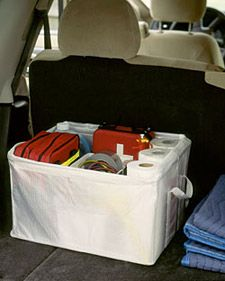 Car Trunk Organizer - Martha Stewart Home & Garden Emergency Preparation, Emergency Preparedness, Emergency Supplies, Emergency Kits, Emergency Planning, Martha Stewart Home, Provident Living, Trunk Organization, Ideas Prácticas