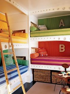 add cutains to each bunk and you have a train sleeper car. Share and use extra rooms for a home office, guest room or play room.