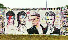 Scott Walker, Up Against The Wall project: David Bowie Tribute Wall, Glastonbury Source David Bowie Born, David Bowie Tribute, Glastonbury 2016, Major Tom, Ziggy Stardust, Arte Popular, Art Graphique, Record Producer, Pop Art