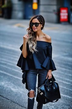 In My Cart This Week - Few Moda Off-The-Shoulder Top // Levi's Gray Jeans // Givenchy Antigona Bag // Saint Laurent Sunglasses // Christian Louboutin So Kate Heels March 23rd, 2017 by maria