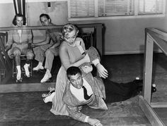 Marilyn Monroe and Cary Grant roller skating accident