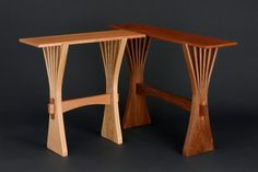 hall table and console in bent, solid wood hand crafted by Seth Rolland fine…