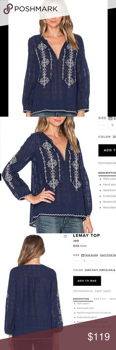 Joie LeMay Embroidered Top Currently on Revolve for $139!                                COLOR  DARK NAVY, PORCELAIN & WHITE and Rose 100% cotton Hand wash cold Neckline keyhole with tie closure Embroidered detail NWT Joie Tops