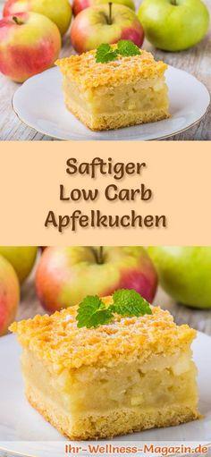 Rezept für einen Low Carb Apfelkuchen - kohlenhydratarm, kalorienreduziert, ohne Zucker und Getreidemehl