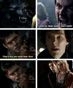 SuperWhoLock - Doctor Who, season episode Tooth and Claw, a. the werewolf episode Castiel, Supernatural, Superwholock, Dean Winchester, Sherlock Doctor Who, Sherlock John, Kicking & Screaming, Mrs Hudson, Fandom Crossover