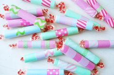 Washi wrapped Smarties candies for your goodie bags to Pine Ridge Reservation--maybe Easter? #FoPRR