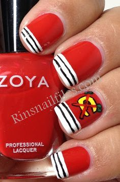 I know it's Chicago Blackhawks but this reminds me of fire department Colorful Nail Designs, Nail Art Designs, Nails Design, Baseball Nails, Hockey Nails, Polish Tattoos, Chicago Blackhawks, Blackhawks Game, Nail Envy