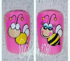 1,00 cada abelhinha Natural Nail Designs, Gel Nail Art Designs, Nail Art For Kids, Animal Nail Art, Painted Nail Art, Feet Nails, Toe Nail Art, Nail Tutorials, Simple Nails
