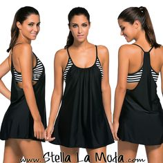 $39.99 Black Flowing Swim Dress Layered 1pc Tankini Top  /search/?q=%23swimdress&rs=hashtag