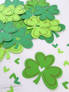 Shamrock cutting file designed by Jen Goode - Make piles of shamrocks in no time with this free SVG and printable set. Happy St. Patrick's Day! - free download at 100Directions.com