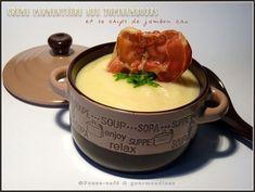 Crème parmentière aux topinambours et sa chips de jambon cru Voici, Fondue, Ethnic Recipes, Cream Soups, Ham, Sweet Treats, Recipes, Kitchens