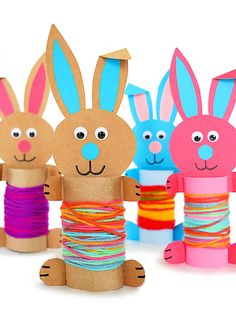 Cardboard Roll Yarn Wrapped Bunny Craft with Free Printable Template #Easter #Eastercraft #Easterbunny #bunnycraft #cardboardrollcraft #freetemplate #kidscraft #kidcrafts