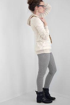 An Open-Knit Sweater Hoodie made using the Briar pattern // Melissa Esplin