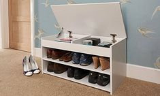 Home Source Shoe Storage Cabinet Rack Wooden Hallway Storage Bench with Lift Up Lid - White