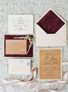 marsala and gold wedding invite
