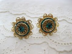 Vintage Art Deco Gold Plated Emerald Green by RomanticBeckonings, $21.00