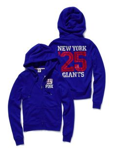 New York Giants Bling Zip Hoodie - Vikki's Secret PINK Collection<3  TEAM SPIRIT!!  Retail--$39.50