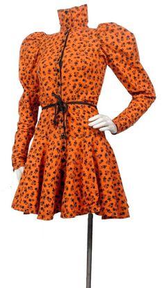 Vintage 80s BETSEY JOHNSON Punk Label Black Orange Mutton Sleeve Mini Dress  XS S… Beautiful 4c4d7d3a8