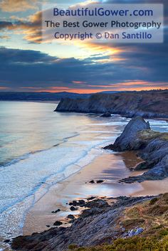 """Pobbles Beach and Three Cliffs Bay by Dan Santillo. """"I walked from Southgate to overlook Pobbles Beach for sunset. I was initially disappointed with the light and thought it would be another failed trip."""" Places To Travel, Places To See, Gower Peninsula, Cardiff, Places Around The World, Beautiful Beaches, Beautiful Landscapes, Strand, Wonders Of The World"""